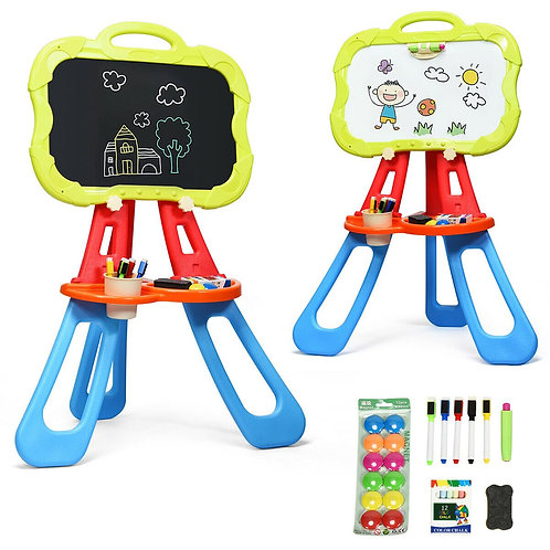 4 in 1 Double Sided Magnetic Kids Art Easel-Blue