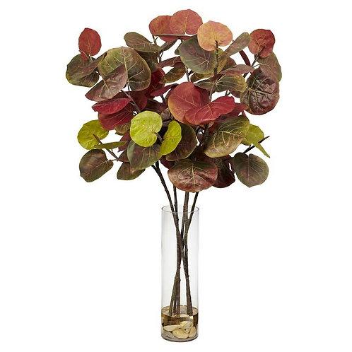 Giant Sea Grape Leaf w/Cylinder Silk Plant