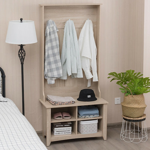 Coat Hat Rack with Shelf and 3 Hooks Organizer-Natural