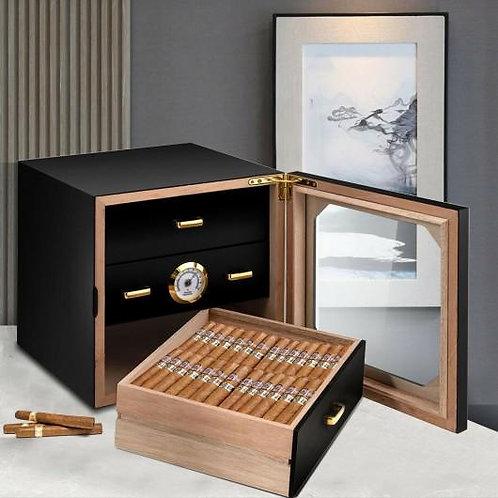 80 Cigar Humidor Desktop Cigar Box-Black