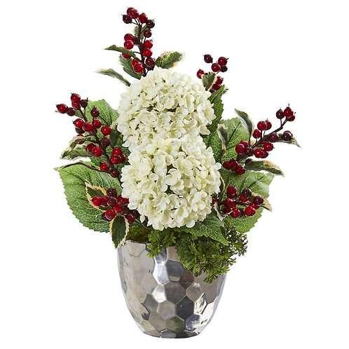 "19""  Hydrangea and Holly Berry Artificial Arrangement in Silver Bowl"