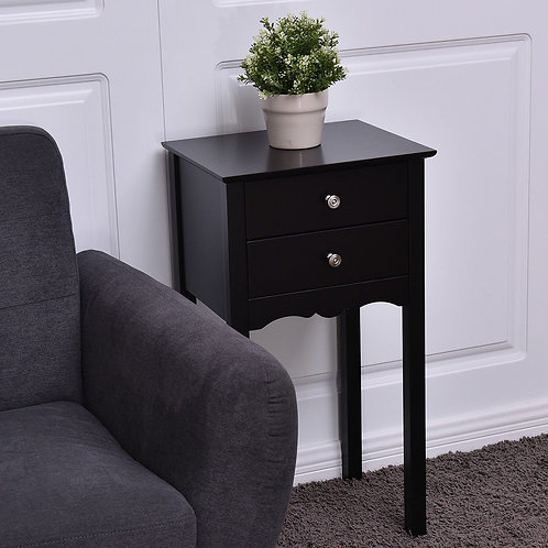 Side Table End Accent Table w/ 2 Drawers-Black
