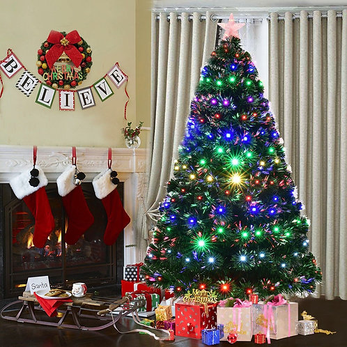 5' / 6' / 7' Multicolor LED Fiber Optic Artificial Christmas Tree-7'