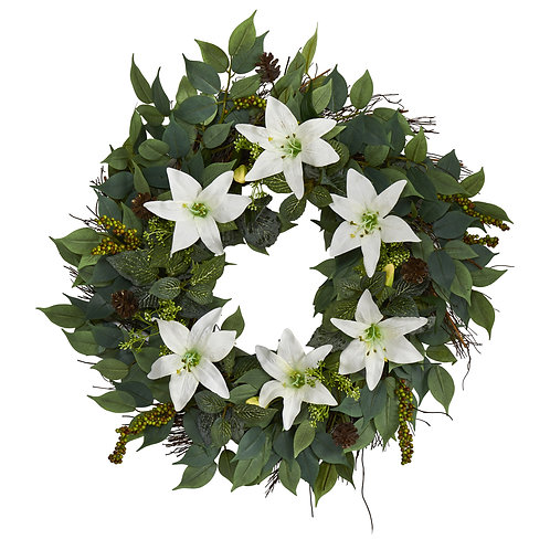 """23"""" Mixed Ruscus, Lily, Fittonia and Berries Artificial Wreath"""