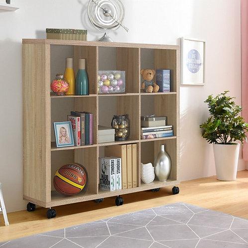 9 Cubes Ladder Shelf Freestanding Corner Display Rack Bookshelf-Natural