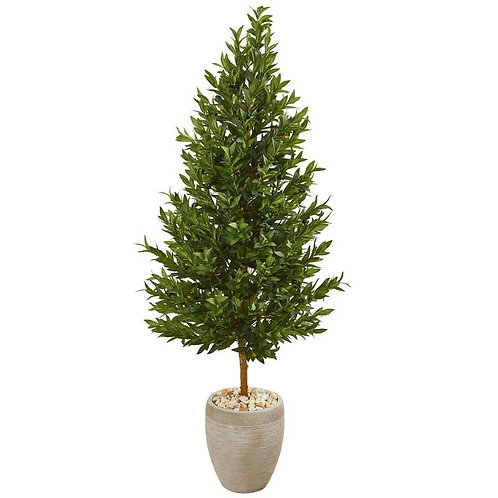 """62""""  Olive Cone Topiary Artificial Tree in Sand Colored Planter UV Resistant"""