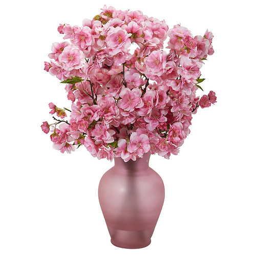 """18"""" Cherry Blossom Artificial Arrangement in Rose Colored Vase"""