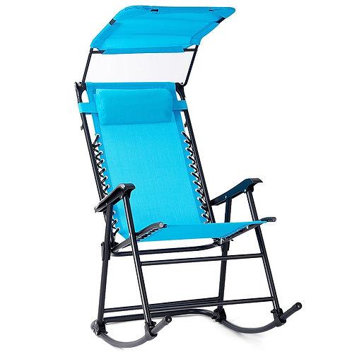 Zero Gravity Folding Rocking Chair Rocker Porch-Navy