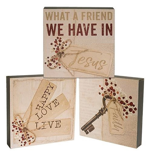*Live Love Happy Box Sign 3 Asst.