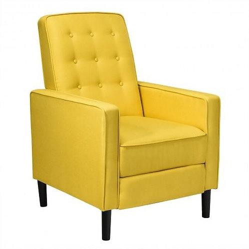 Mid-Century Push Back Recliner Chair -Yellow