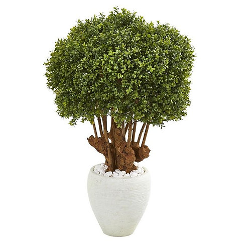 """41""""  Boxwood Artificial Topiary Tree in White Planter (Indoor/Outdoor)"""