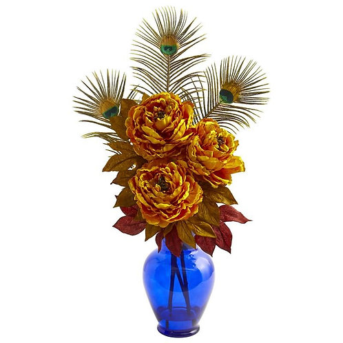 Peony in Blue Vase Artificial Arrangement
