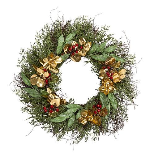 "20"" Cedar, Ruscus, Berries and Golden Eucalyptus Artificial Wreath"
