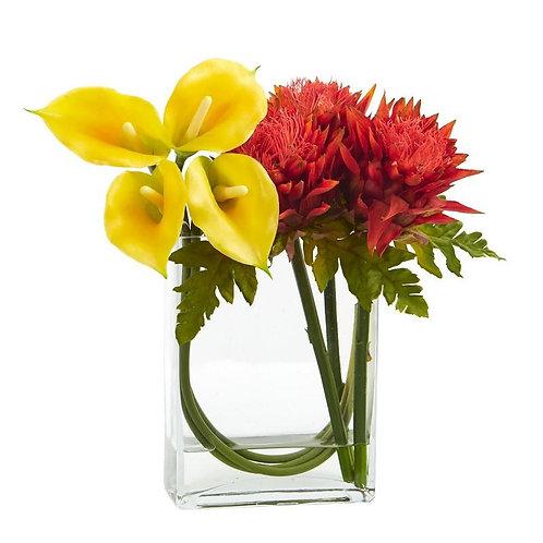 12'' Calla Lily and Artichoke in Rectangular Glass Vase Artificial Arrangement