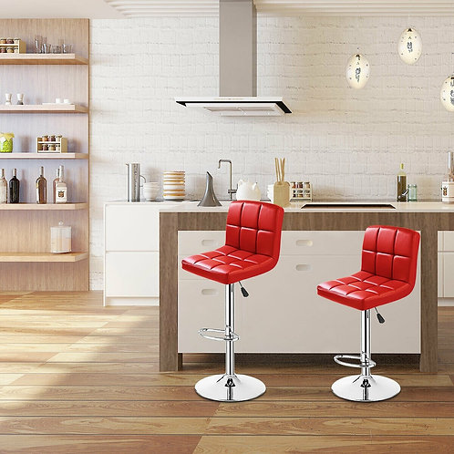 Set of 2 PU Leather Swivel Bar Stools Pub Chairs-Red