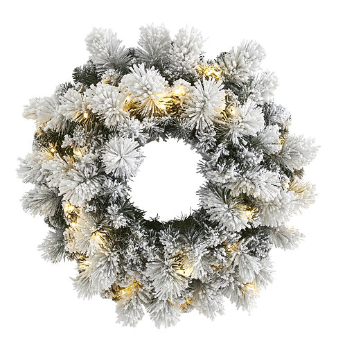 """24"""" Flocked Artificial Christmas Wreath w/30 Warm White LED Lights"""