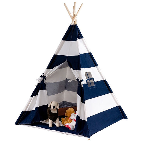 5' White & Blue Portable Indian Children Sleeping Dome Play Tent