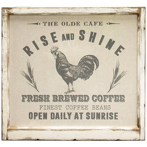 *Framed Fabric Rise and Shine Rooster Picture