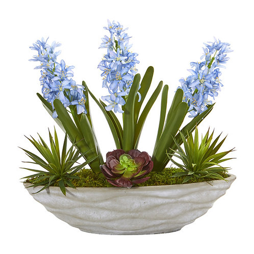 """15"""" Hyacinth and Succulent Artificial Plant in Decorative Planter"""