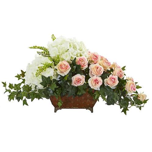 Hydrangea & Rose Artificial Arrangement in Metal Planter