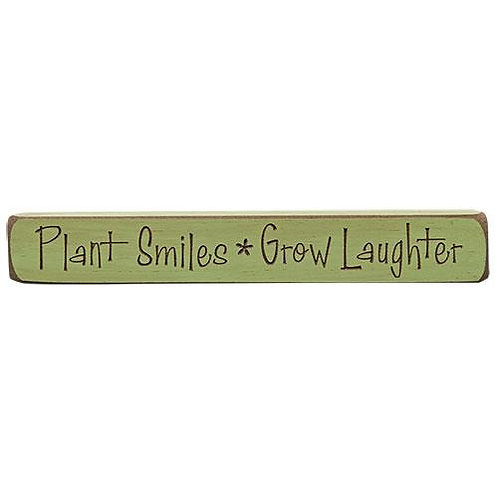 """Pack of 4 Plant Smiles Grow Engraved Block 12"""""""