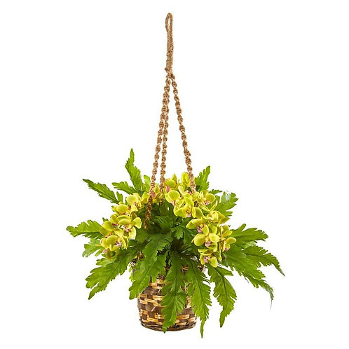 """29""""  Phalaenopsis Orchid and Fern Artificial Plant in Hanging Basket"""