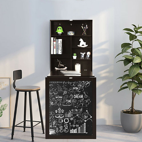 Convertible Wall Mounted Table with A Chalkboard-Coffee