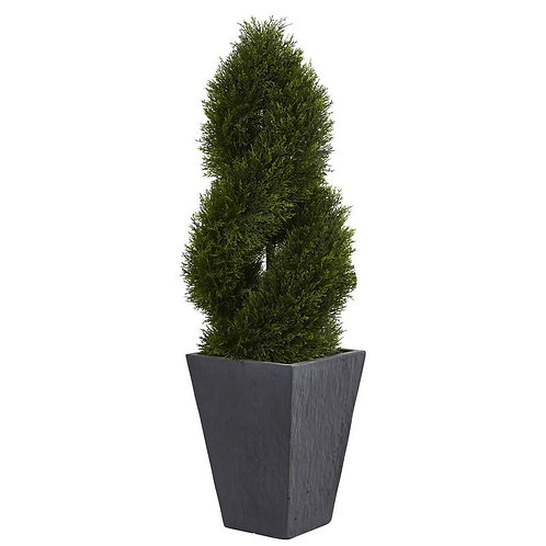 4' Cypress Double Spiral Topiary Artificial Tree in Slate Planter UV Resistant
