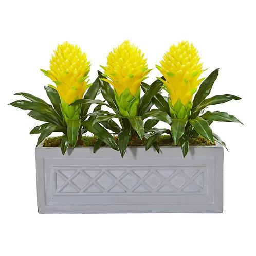 Bromeliad Artificial Plant in Stone Planter