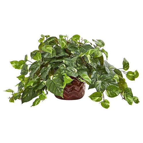 Pothos Artificial Plant in Design Red Vase