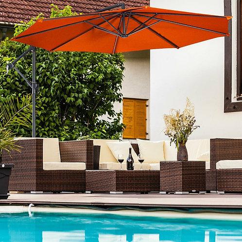 10' Patio Outdoor Sunshade Hanging Umbrella-Orange