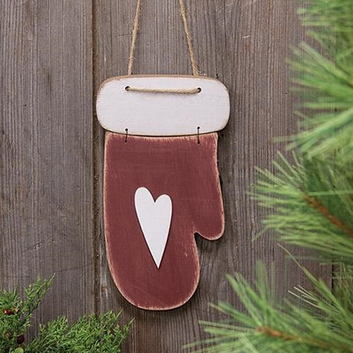 Pack of 4 Distressed Wooden Mitten Ornament