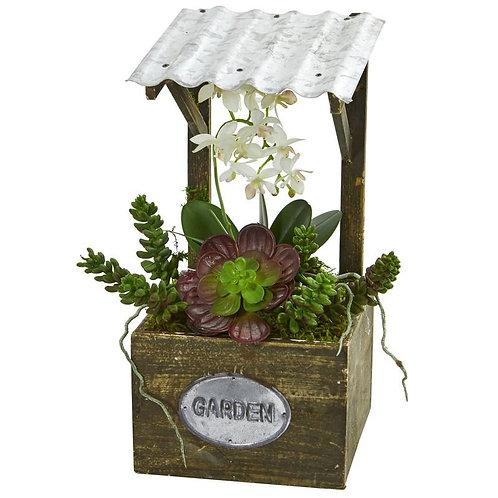 Phalaenopsis Orchid & Succulent Artificial Arrangement