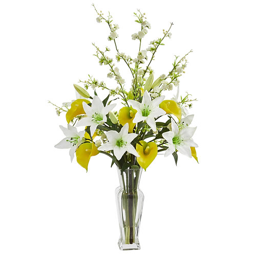 Calla, Lily and Cherry Blossom Artificial Arrangement