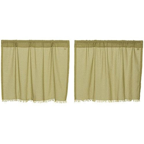 """*Olive Tobacco Cloth Fringed Tiers 24"""" x 36"""" 1 Pair"""