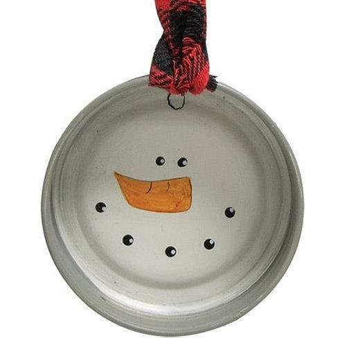 Pack of 4 Snowman Face Jar Lid Ornament