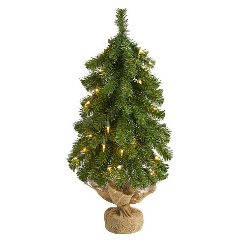 2' Alpine Artificial Christmas Tree w/ 35 Lights, 92 Bendable Branches