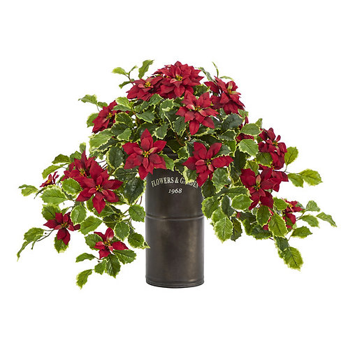 """21"""" Poinsettia and Variegated Holly Artificial Plant in Decorative Planter"""