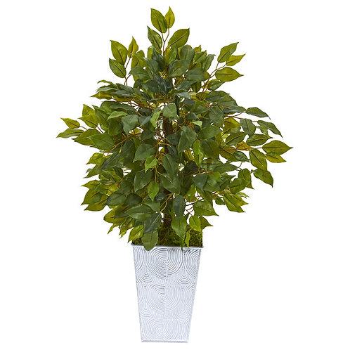 "17"" Mini Ficus Artificial Tree in Embossed White Planter"