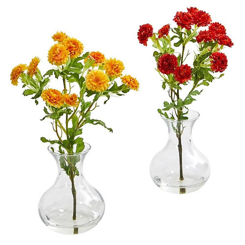 Japanese Artificial Arrangement in Vase (Set of 2)