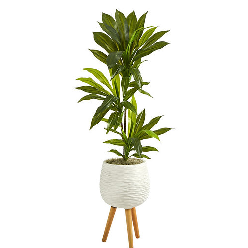 """46"""" Dracaena Artificial Plant in White Planter with Stand (Real Touch)"""