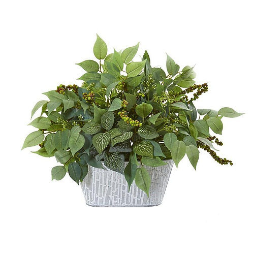 "13""  Mixed Ficus and Fittonia Artificial Plant in Decorative Planter"