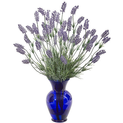 "21"" Lavender Artificial Plant in Blue Vase"