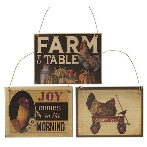 Pack of 4 Farm to Table Ornament 3 Asstd.