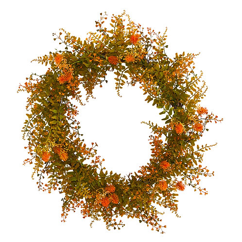 "21"" Autumn Fern Artificial Wreath"