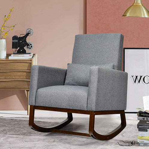 2-in-1 Fabric Upholstered Rocking Chair with Pillow-Gray