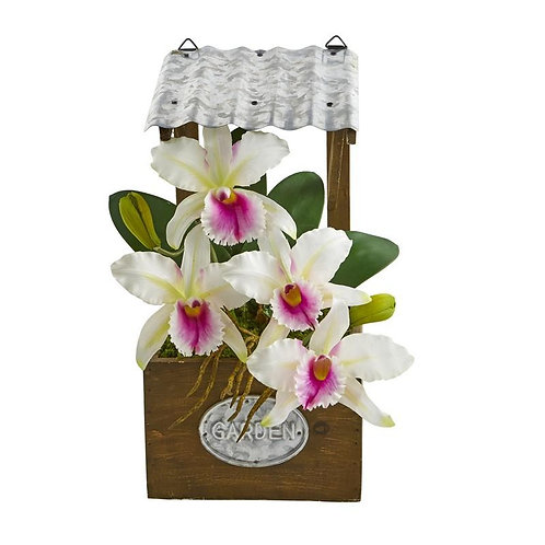 "14""  Cattleya Orchid Artificial Arrangement in Tin Roof Planter"