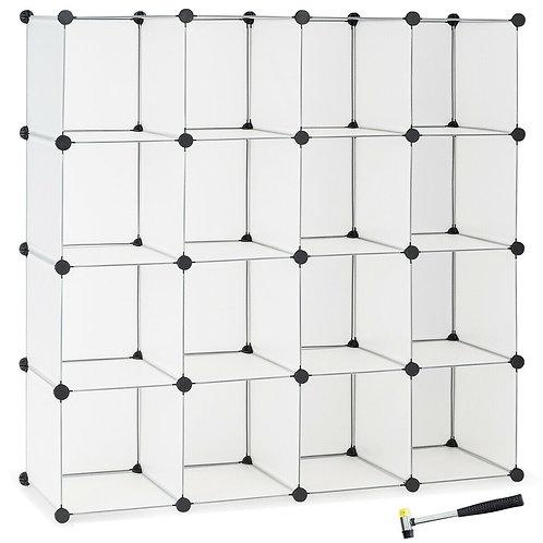 16 Plastic Cube Storage Organizer-White