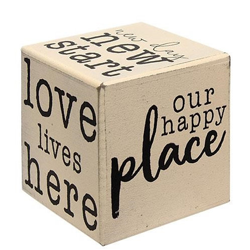 Pack of 2 Our Happy Place Six-Sided Block