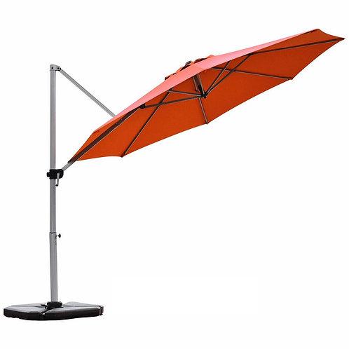 11' Patio Offset Cantilever Umbrella 360� Rotation Aluminum Tilt-Brick Red